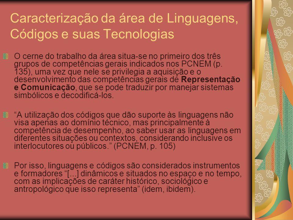 Caracterização da área de Linguagens, Códigos e suas Tecnologias