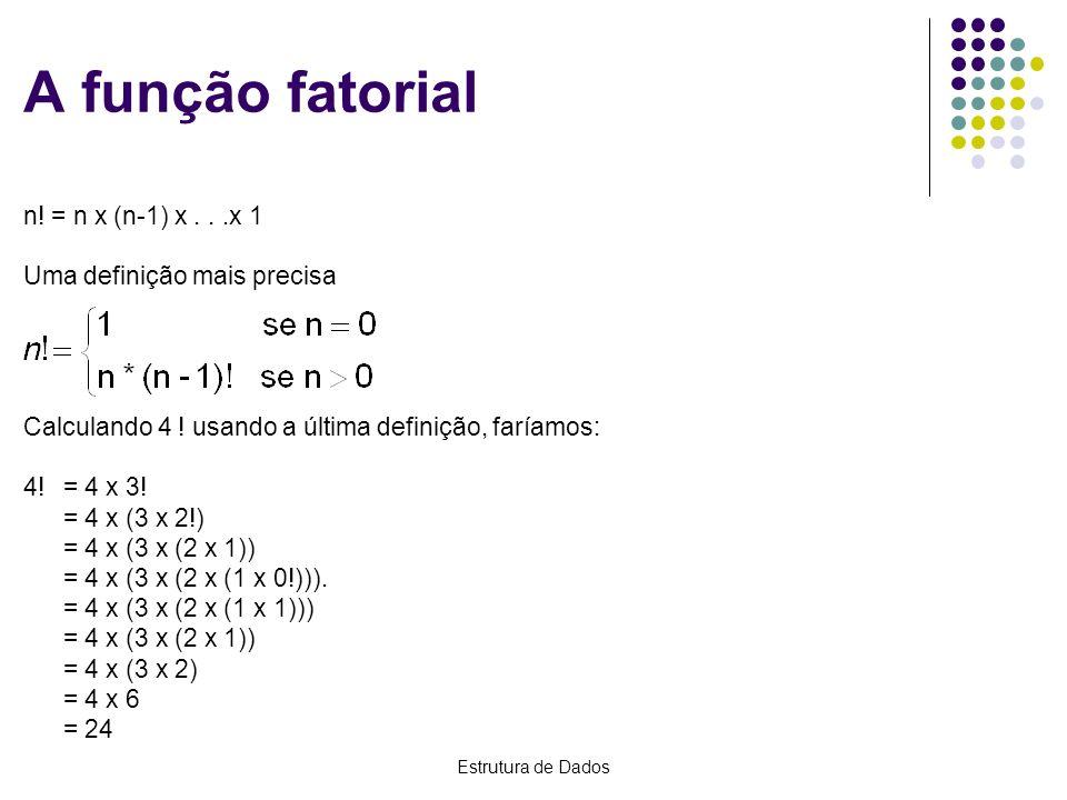 A função fatorial n! = n x (n-1) x . . .x 1 Uma definição mais precisa