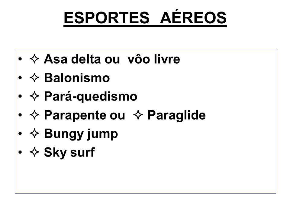 ESPORTES AÉREOS  Asa delta ou vôo livre  Balonismo  Pará-quedismo