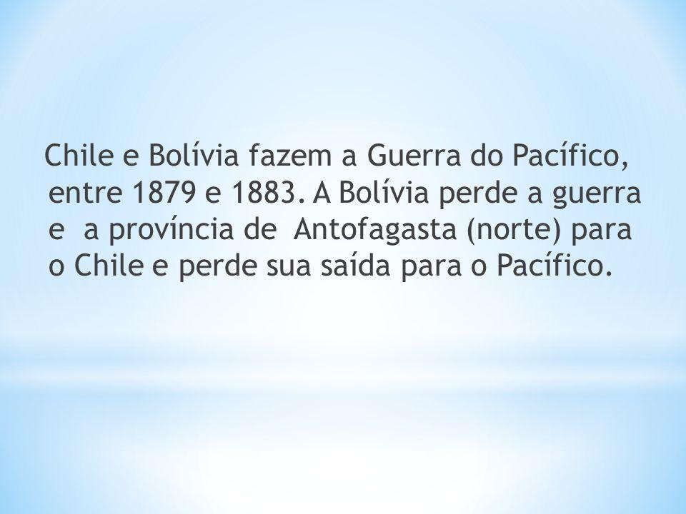 Chile e Bolívia fazem a Guerra do Pacífico, entre 1879 e 1883