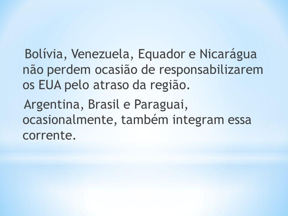 Bolívia, Venezuela, Equador e Nicarágua não perdem ocasião de responsabilizarem os EUA pelo atraso da região.