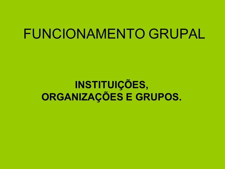 INSTITUIÇÕES, ORGANIZAÇÕES E GRUPOS.