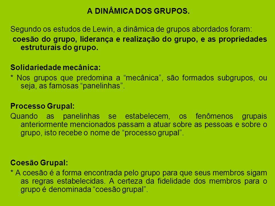 A DINÂMICA DOS GRUPOS.Segundo os estudos de Lewin, a dinâmica de grupos abordados foram: