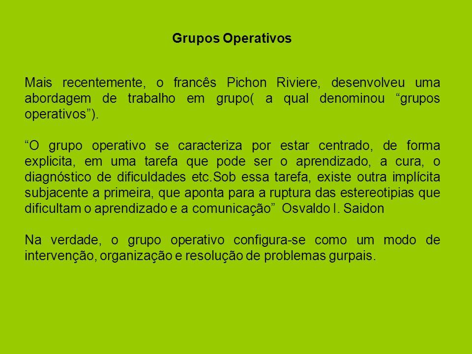 Grupos Operativos Mais recentemente, o francês Pichon Riviere, desenvolveu uma abordagem de trabalho em grupo( a qual denominou grupos operativos ).
