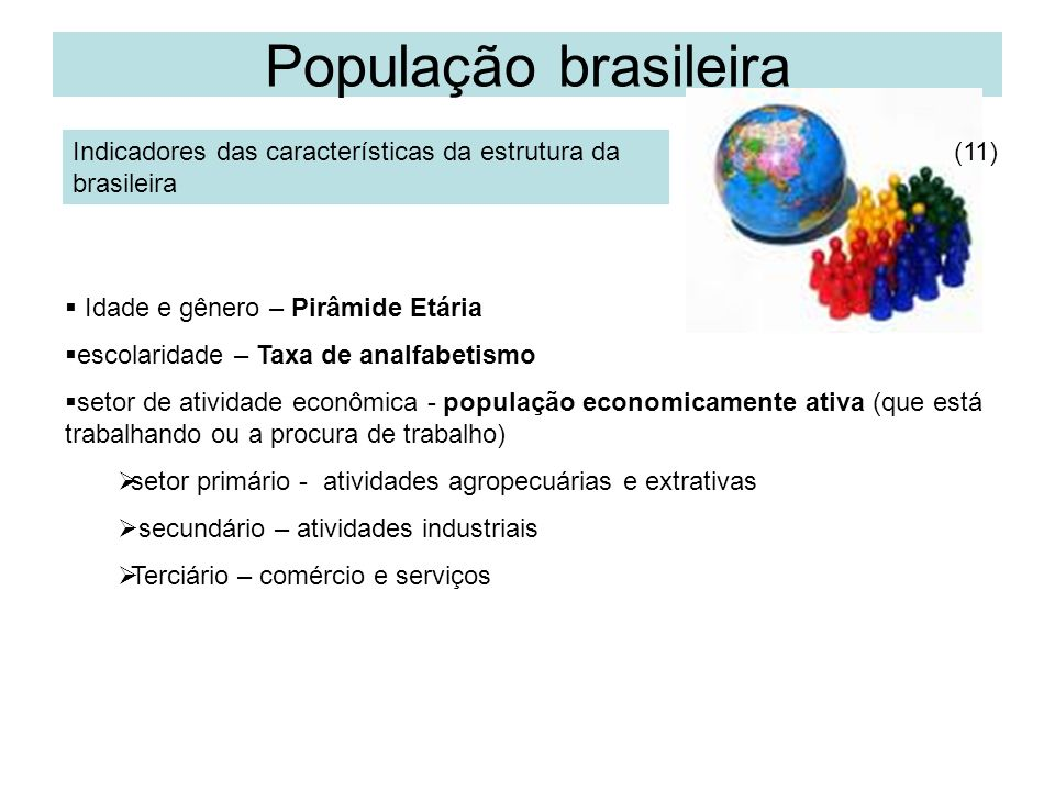 População brasileira Indicadores das características da estrutura da brasileira. (11) Idade e gênero – Pirâmide Etária.