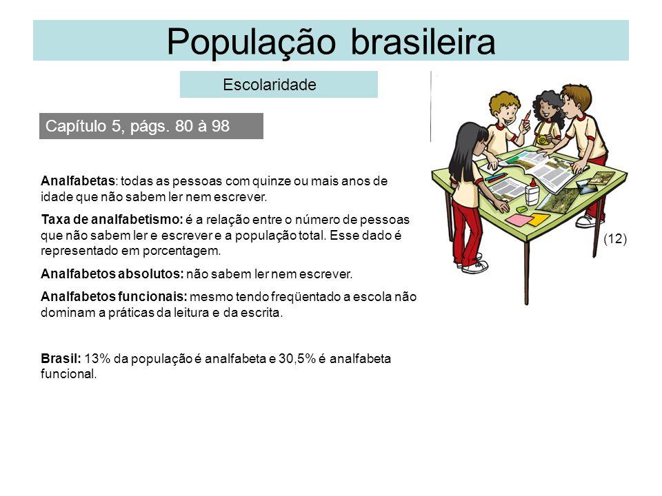 População brasileira Escolaridade Capítulo 5, págs. 80 à 98