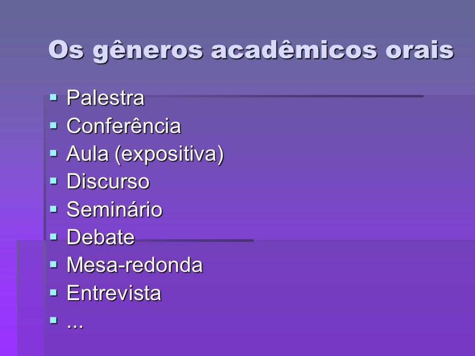 Os gêneros acadêmicos orais