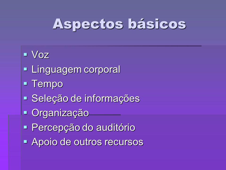 Aspectos básicos Voz Linguagem corporal Tempo Seleção de informações