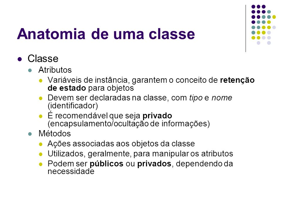 Anatomia de uma classe Classe Atributos Métodos