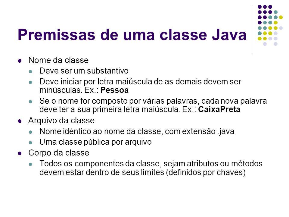 Premissas de uma classe Java