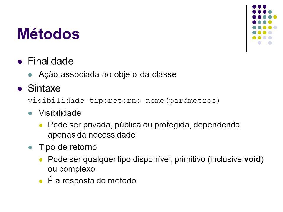 Métodos Finalidade Sintaxe Ação associada ao objeto da classe
