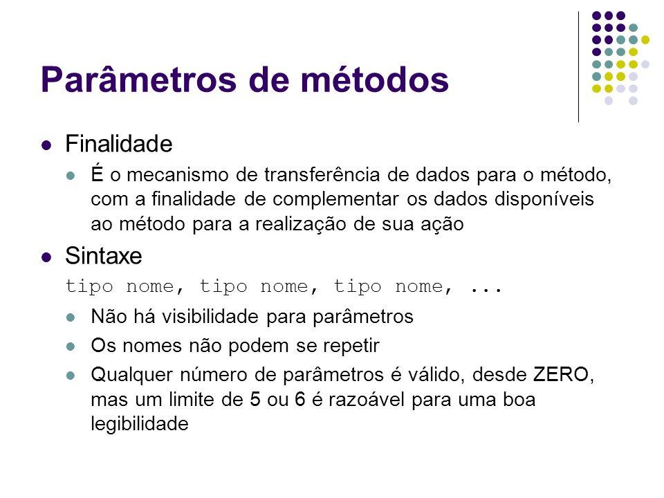 Parâmetros de métodos Finalidade Sintaxe