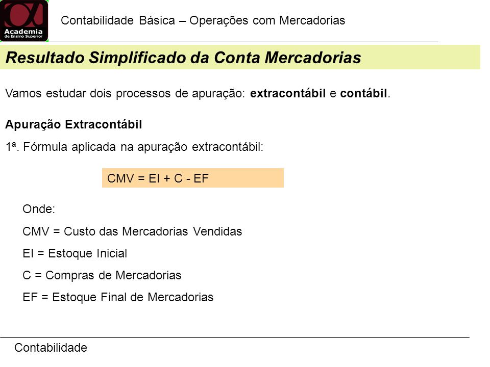 Resultado Simplificado da Conta Mercadorias