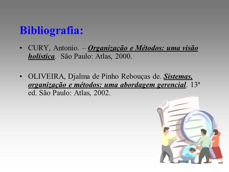 Bibliografia: CURY, Antonio. – Organização e Métodos: uma visão holística. São Paulo: Atlas, 2000.