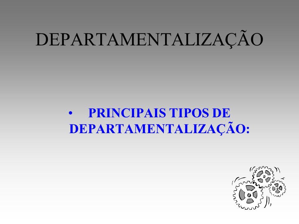 PRINCIPAIS TIPOS DE DEPARTAMENTALIZAÇÃO: