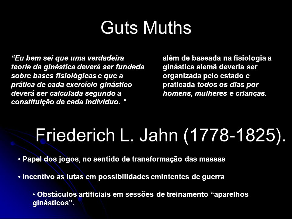 Guts Muths Friederich L. Jahn (1778-1825).