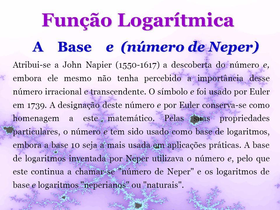 Função Logarítmica A Base e (número de Neper)