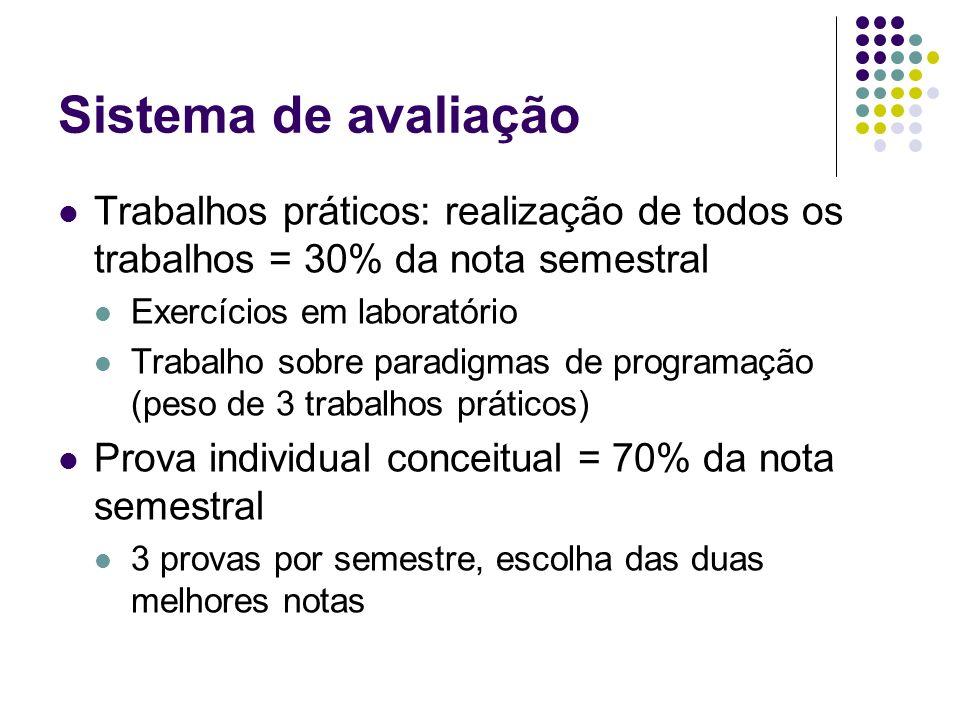 Sistema de avaliação Trabalhos práticos: realização de todos os trabalhos = 30% da nota semestral. Exercícios em laboratório.