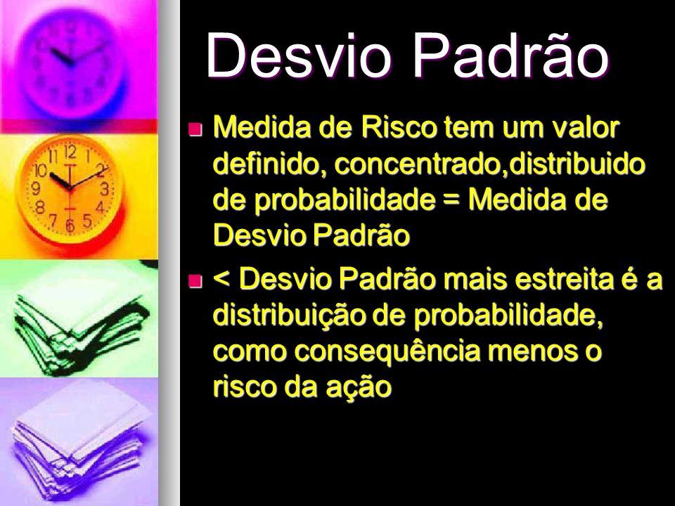 Desvio PadrãoMedida de Risco tem um valor definido, concentrado,distribuido de probabilidade = Medida de Desvio Padrão.