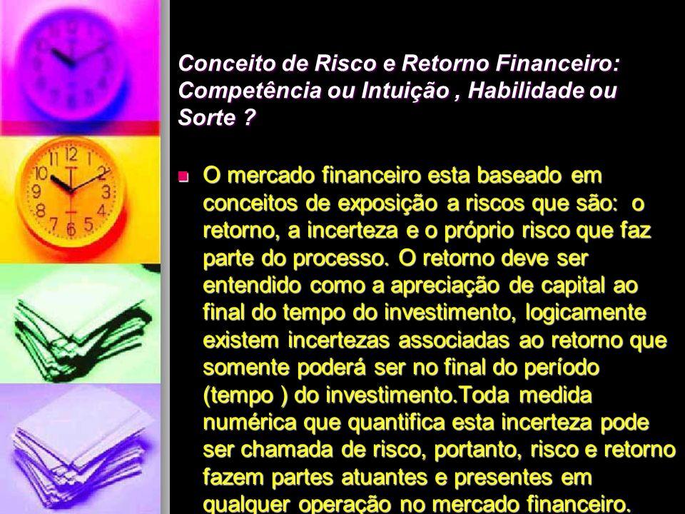 Conceito de Risco e Retorno Financeiro: Competência ou Intuição , Habilidade ou Sorte