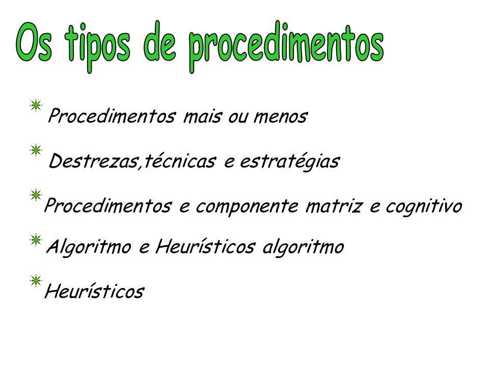 Os tipos de procedimentos