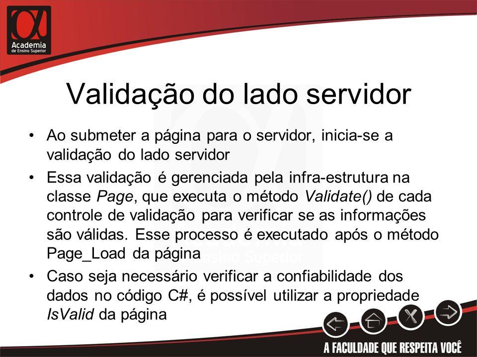 Validação do lado servidor