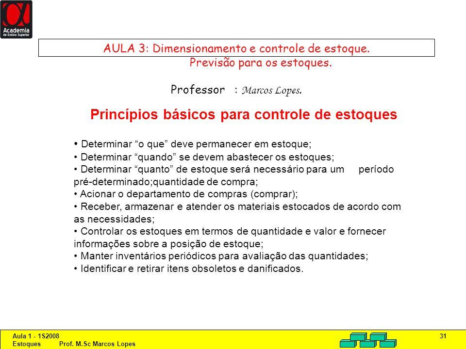 Princípios básicos para controle de estoques