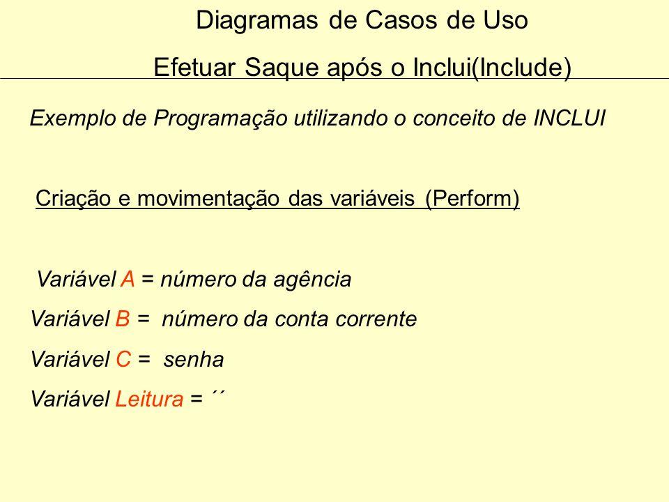 Diagramas de Casos de Uso Efetuar Saque após o Inclui(Include)