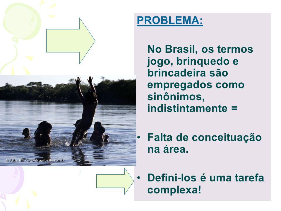 PROBLEMA: No Brasil, os termos jogo, brinquedo e brincadeira são empregados como sinônimos, indistintamente =