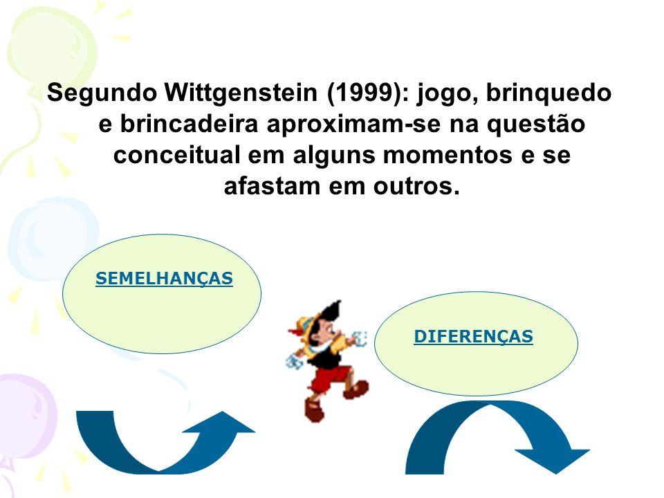 Segundo Wittgenstein (1999): jogo, brinquedo e brincadeira aproximam-se na questão conceitual em alguns momentos e se afastam em outros.
