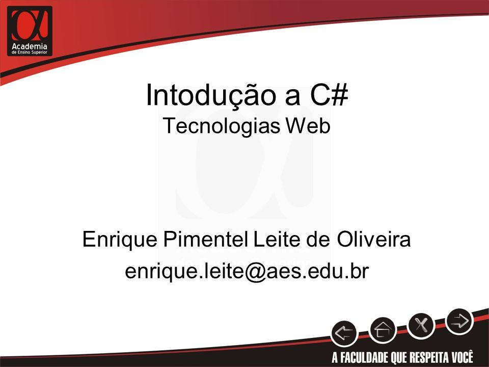 Intodução a C# Tecnologias Web