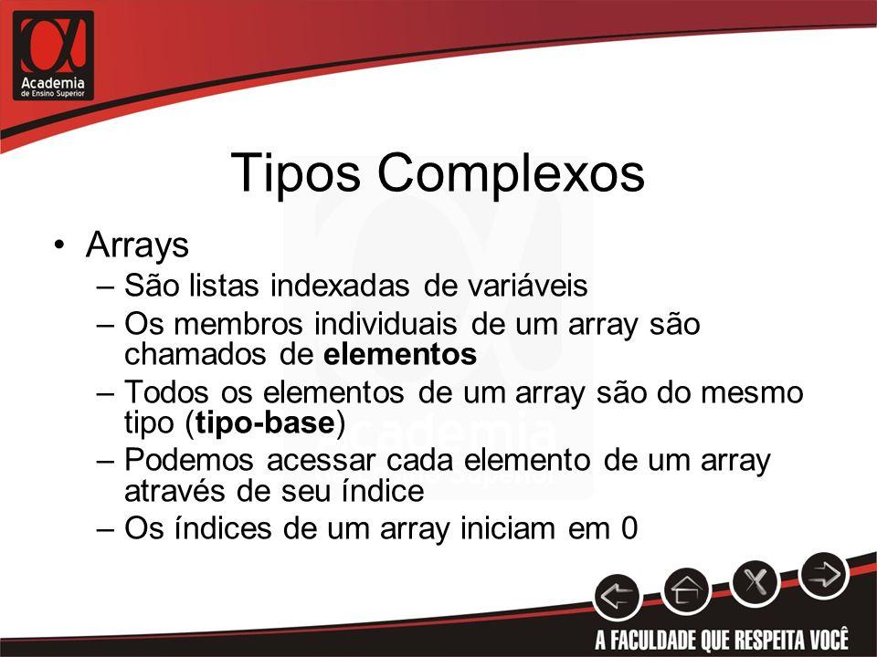 Tipos Complexos Arrays São listas indexadas de variáveis