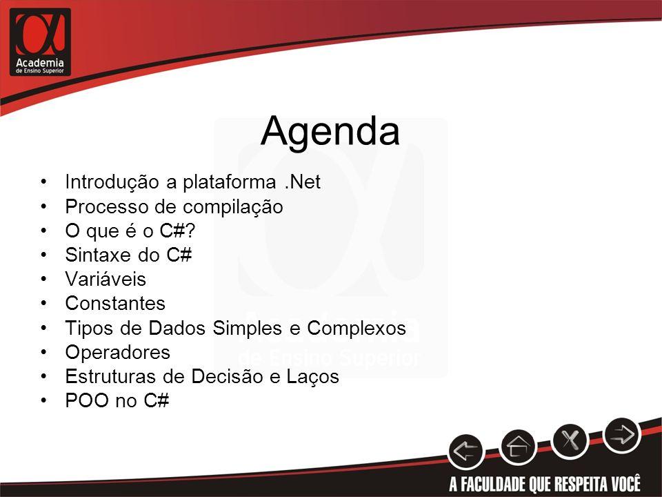 Agenda Introdução a plataforma .Net Processo de compilação