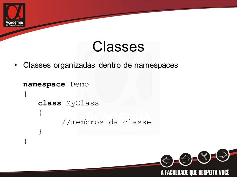 Classes Classes organizadas dentro de namespaces namespace Demo {