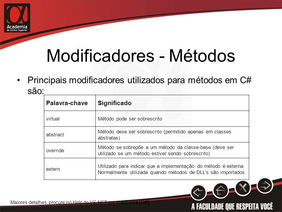 Modificadores - Métodos