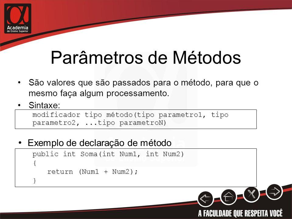 Parâmetros de Métodos Exemplo de declaração de método