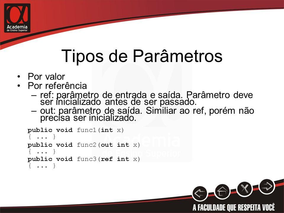 Tipos de Parâmetros Por valor Por referência