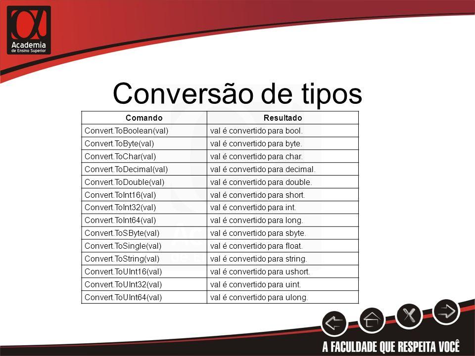 Conversão de tipos Comando Resultado Convert.ToBoolean(val)