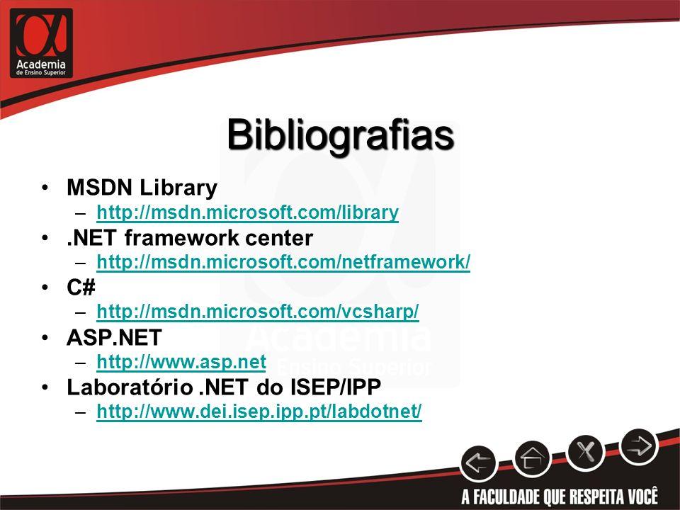 Bibliografias MSDN Library .NET framework center C# ASP.NET