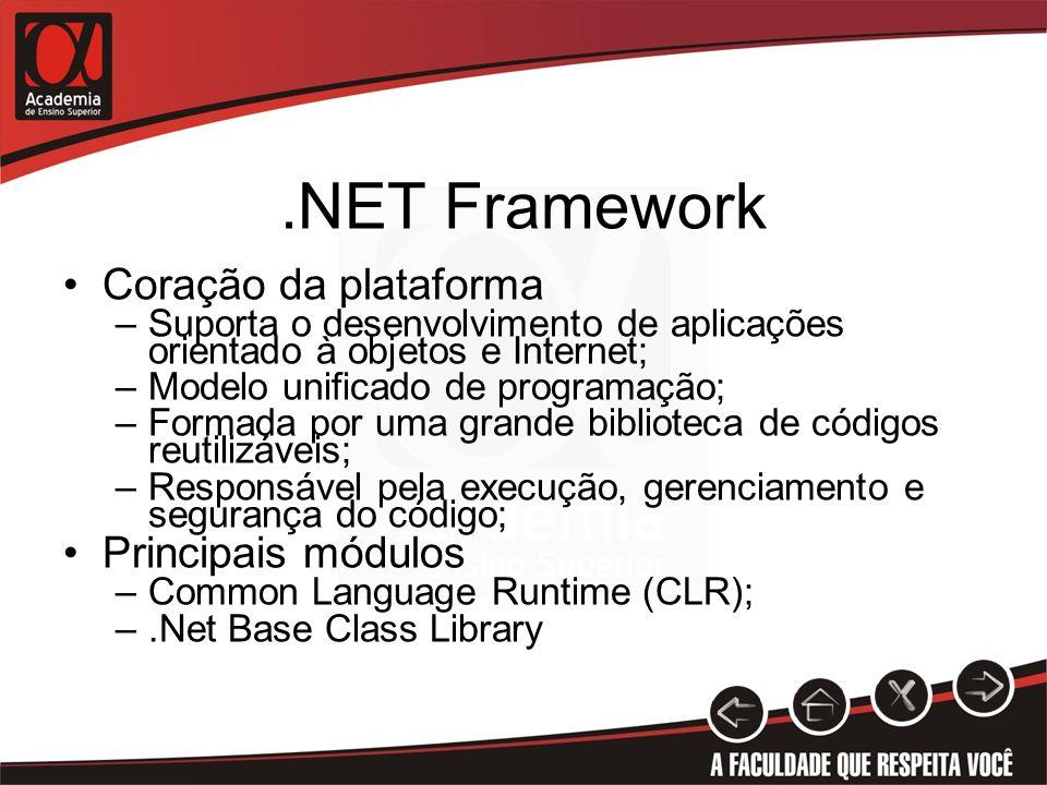 .NET Framework Coração da plataforma Principais módulos