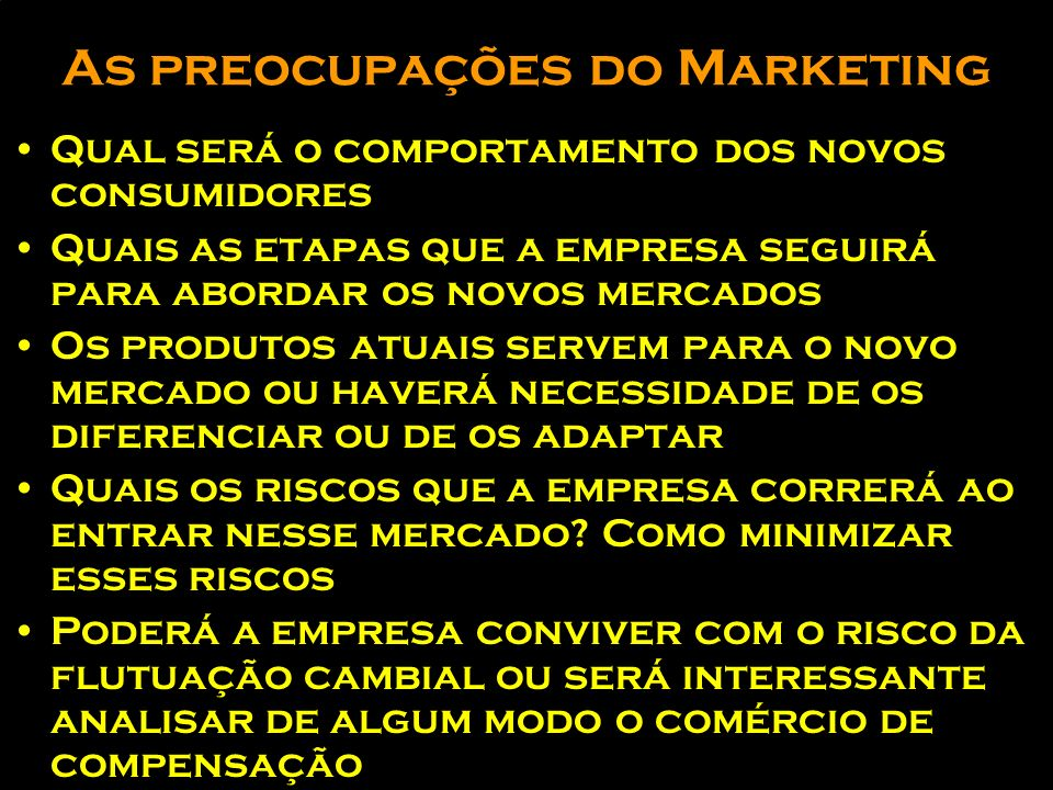As preocupações do Marketing
