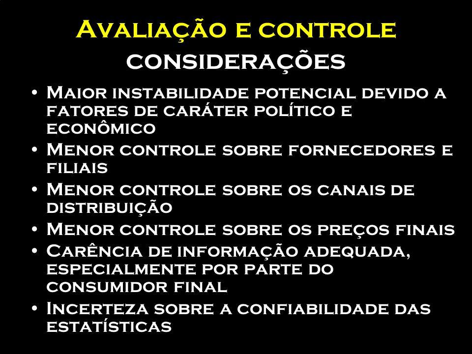 Avaliação e controle considerações