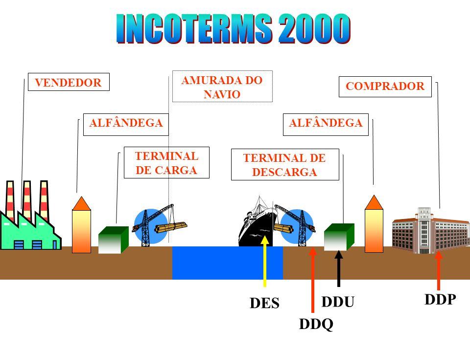 INCOTERMS 2000 DDP DES DDU DDQ VENDEDOR AMURADA DO NAVIO COMPRADOR