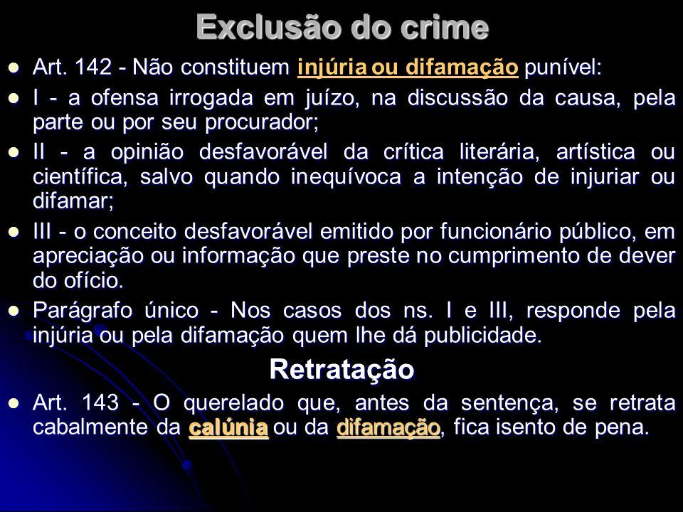 Exclusão do crime Retratação