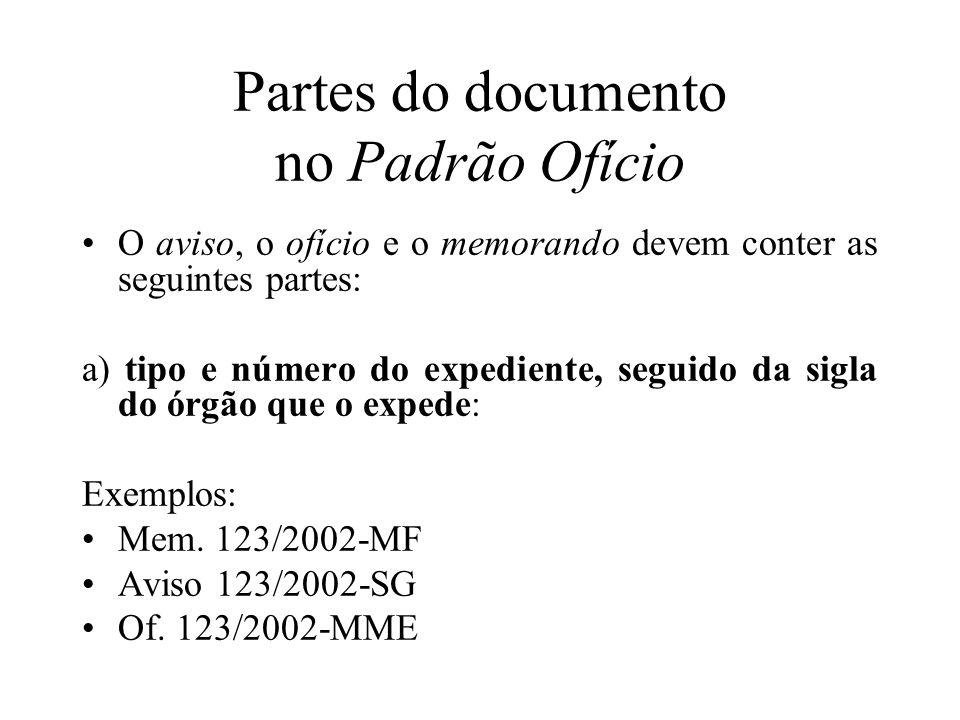 Partes do documento no Padrão Ofício