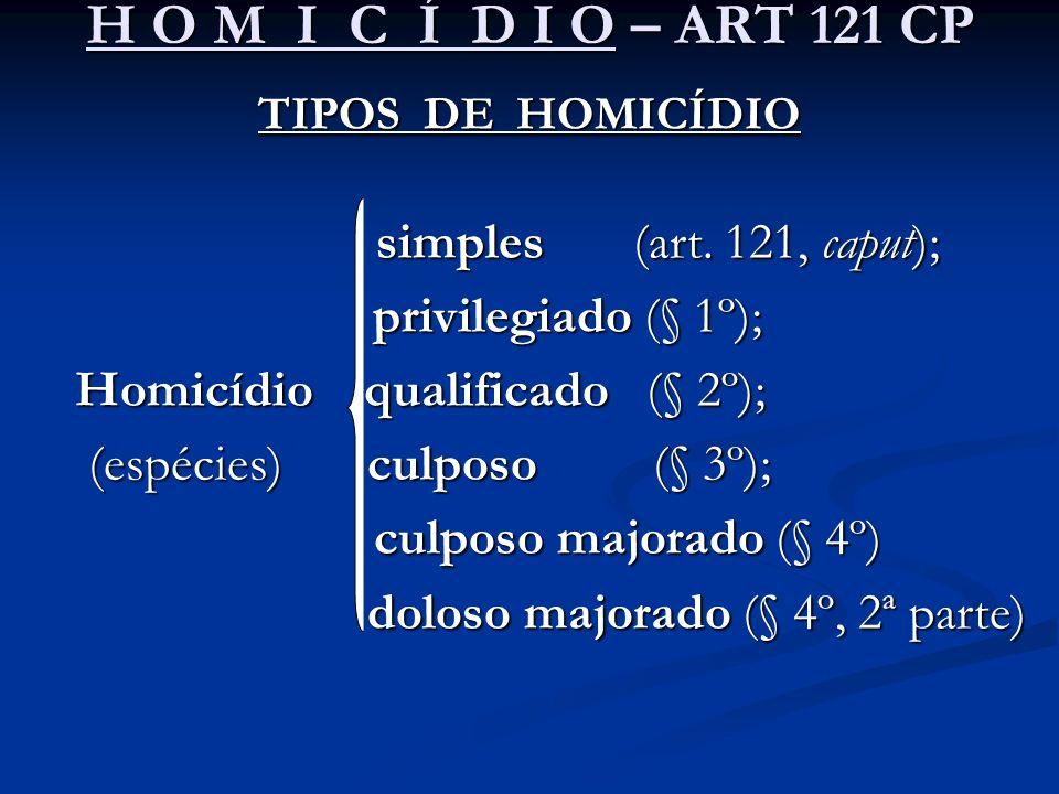 H O M I C Í D I O – ART 121 CP privilegiado (§ 1º);