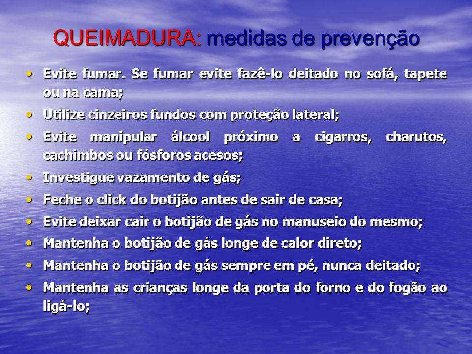 QUEIMADURA: medidas de prevenção