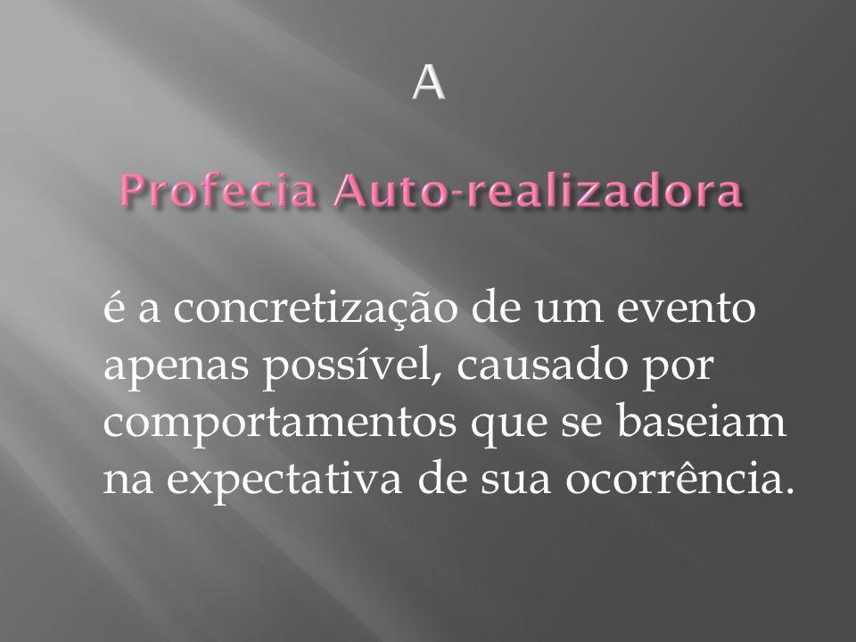 A é a concretização de um evento apenas possível, causado por comportamentos que se baseiam na expectativa de sua ocorrência.