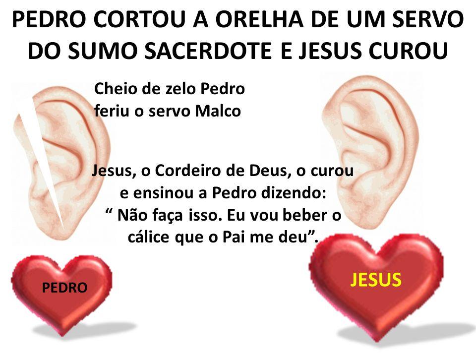 PEDRO CORTOU A ORELHA DE UM SERVO DO SUMO SACERDOTE E JESUS CUROU