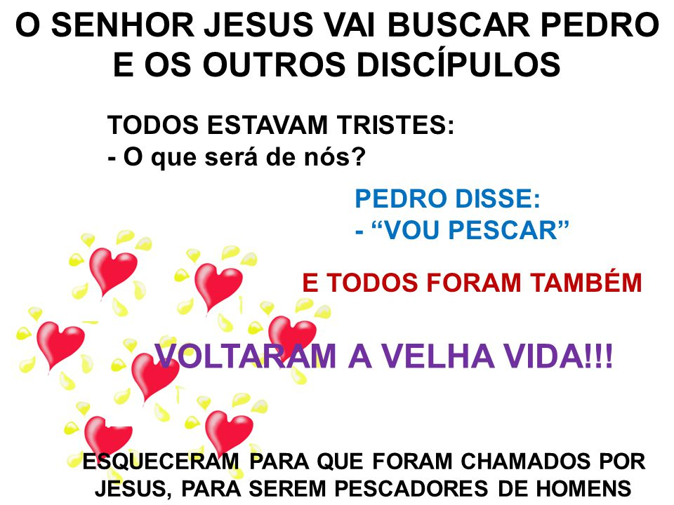 O SENHOR JESUS VAI BUSCAR PEDRO E OS OUTROS DISCÍPULOS